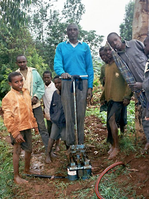Foot-powered water pumps